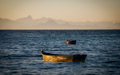 Lonely boat in the ocean