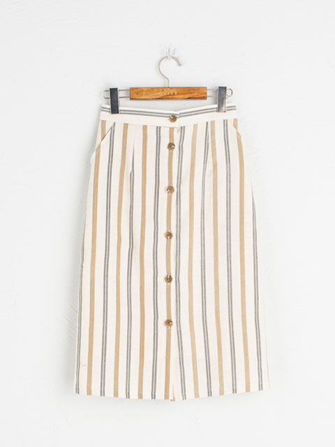 Pin Stripe Button Down Skirt | Olive | £69